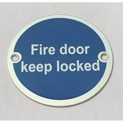 Frelan Fire Door Keep Locked Disc Sign - Satin Stainless Steel - JS101SSS