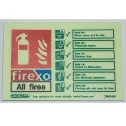 Jalite ZM604ID Rigid PVC Photoluminescent Firexo Extinguisher ID Sign 150 x 105mm - Rigid PVC