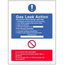 Gas Leak Action Sign - Rigid PVC - 200 x 150mm - 11431E