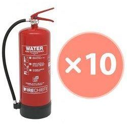 Firechief FXW9 9 Litre Water Fire Extinguisher - Bundle Pack Of 10 (Supply With 80 x 200mm ID Signs (Pack of 10))
