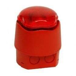 Hosiden Besson 958CHX1001 Banshee Excel Lite Capsule Sounder & Xenon Beacon - Red Body & Lens - Deep Base