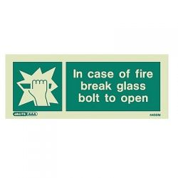 Jalite 4468M In Case Of Fire Break Glass Bolt To Open Sign