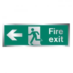 Jalite Rigid PVC Metal Effect Fire Exit Sign With Left Arrow - ME430