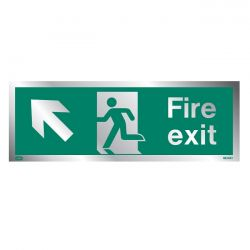 Jalite Rigid PVC Metal Effect Fire Exit Sign With Up Left Arrow - ME434