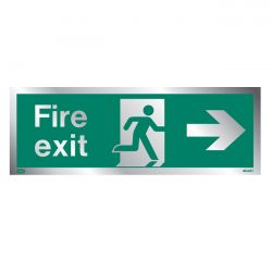 Jalite Rigid PVC Metal Effect Fire Exit Sign With Right Arrow - ME435T