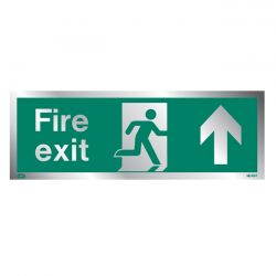 Jalite Rigid PVC Metal Effect Fire Exit Sign With Up Arrow - ME436