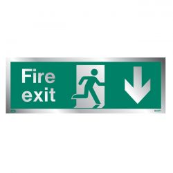 Jalite Rigid PVC Metal Effect Fire Exit Sign With Down Arrow - ME437