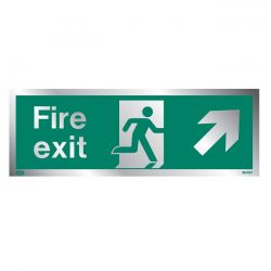 Jalite Rigid PVC Metal Effect Fire Exit Sign With Up Right Arrow - ME438