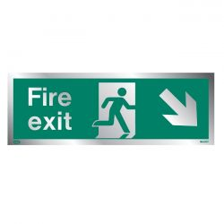Jalite Rigid PVC Metal Effect Fire Exit Sign With Down Right Arrow - ME439