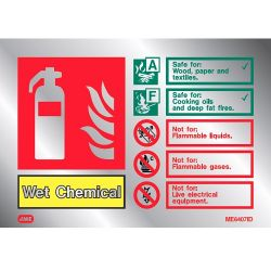 Jalite ME6407ID Metal Effect Wet Chemical Extinguisher ID Sign
