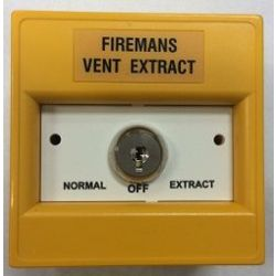 KAC K30SYS-33 Firemans Vent Extract Keyswitch - Yellow