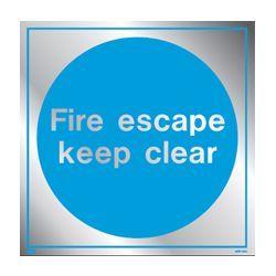 Metal Fire Escape Keep Clear Sign 200 x 200mm - Jalite ME5190ER
