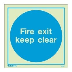 Metal Fire Exit Keep Clear Sign 200 x 200mm - Jalite ME5257ER
