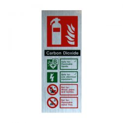 Aluminium Metal Effect CO2 Fire Extinguisher ID Sign - Jalite ME6265MR