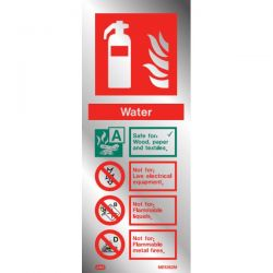 Polished Aluminium Metal Water Fire Extinguisher ID Sign - Jalite ME6362MR