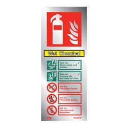 Polished Aluminium Metal Wet Chemical Fire Extinguisher ID Sign - Jalite ME6367MR