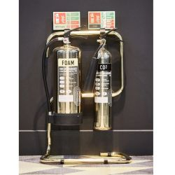Commander Contempo Polished Gold Fire Extinguisher & Stand Package - PGFESP