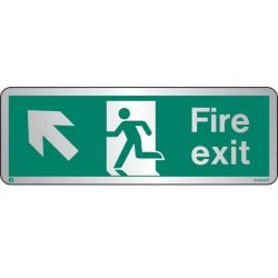 Jalite STB434T Brushed Stainless Steel Fire Exit Sign - Up Left Arrow 120 x 340mm