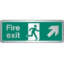 Jalite STB438T Brushed Stainless Steel Fire Exit Sign - Up Right Arrow 120 x 340mm