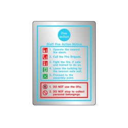 Brushed Stainless Steel Metal Fire Action Sign - Jalite STB5479D