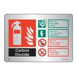 Brushed Stainless CO2 Fire Extinguisher ID Sign - Jalite STB6372ID