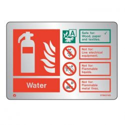 Brushed Stainless Water Fire Extinguisher ID Sign - Jalite STB6374ID