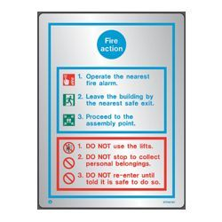 Polished Stainless Steel Metal Fire Action Sign - Jalite STP5018D
