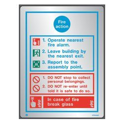 Polished Stainless Steel Metal Fire Action Sign - Jalite STP5425D
