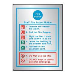 Polished Stainless Steel Metal Fire Action Sign - Jalite STP5479D