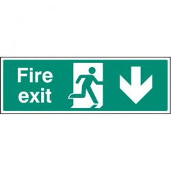 Fire Exit Sign - White - Down Arrow
