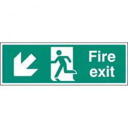 Fire Exit Sign - White - Down Left Arrow
