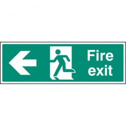 Fire Exit Sign - White - Left Arrow
