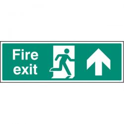 Fire Exit Sign - White - Up Arrow