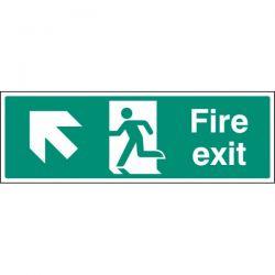 Fire Exit Sign - White - Up Left Arrow