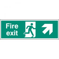 Fire Exit Sign - White - Up Right Arrow
