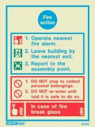 Jalite Fire Action Sign