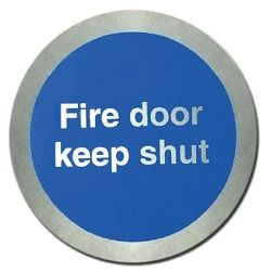 Metal Fire Door Keep Shut Disc Sign
